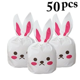Plastic Ears Australia - 50pcs Gift Bag Cute Long Bunny Rabbit Ears Easter Candy Gift Set Plastic Party Favors Cookie Snack Birthday Decoration Kids Gift