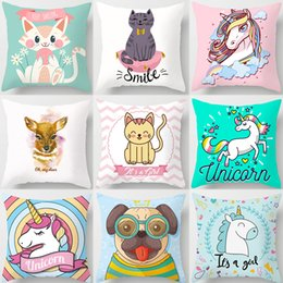 Deer Chair Australia - Cartoon Pug Dog Unicorn Deer Smile Cat Cushion Covers Kids Favor Pillow Cases 44X44cm Sofa Chair Decoration