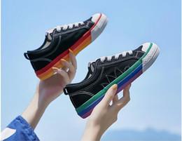 $enCountryForm.capitalKeyWord Australia - 2019 summer canvas shoes women's breathable color matching rainbow wild students Korean plate Harajuku small white shoes women