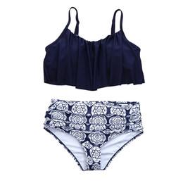 cca1a8113a Women Sexy Falbala High waist Swimwear Bikini Set Push Up Swimsuit Halter Bathing  Suit bathers biquini Beach Swimming Mujer DZ50