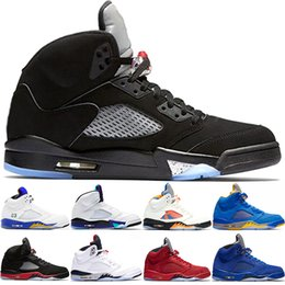 Discount summer suede shoes mens - 2019 Men 5 5s Basketball Shoes Bred Grape Fire Red Laney Blue Suede White Cement Mens Sport Designer Sneakers Size 8-13