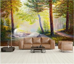 kitchen anti oil stickers UK - 3d wallpaper custom photo mural Nordic forest oil painting sunlight rays background wall small tree stickers murals wallpaper for walls 3 d