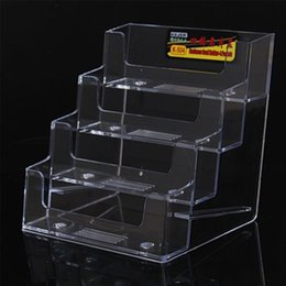 Acrylic tAble displAys online shopping - 4 Pockets Clear Acrylic Stand Display Table Desktop Business Card Holder Stand Box for Office Table Desk School