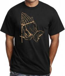 $enCountryForm.capitalKeyWord Australia - Praying Hands T shirt BlaSummer Gold Blessed Rosary Cross Tattoo Drake Rap Urban Tee