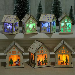 small wood house NZ - Christmas LED Light small size Wood House 4 styles christmas trees decorations Hanging Ornaments Xmas Holiday Nice gift DHL JY435