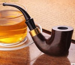 wood pipes free shipping NZ - Edus pipe ebony pipe manual men's curved tobacco wire filter real wood pipe Free Shipping