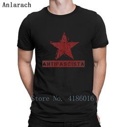 linen wrinkles NZ - Antifascista Star Red Left Communist T Shirt Anti-Wrinkle Spring Building Normal Round Collar Short Sleeve Designs Slim Shirt
