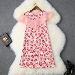 $enCountryForm.capitalKeyWord Australia - 2019 Summer Cute Pink Sleeveless Crew Neck Organza Strawberry Print Ruffle Detail Above Knee Dress Casual Dresses 71115T10016