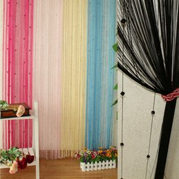metal line accessories NZ - 200 x 100cm Five Colors Line String Window Curtain Tassel Door Room Divider Scarf Valance Happy Gifts Polyester fiber