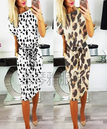 $enCountryForm.capitalKeyWord NZ - 2019 Fast Selling Amazon Explosive Money Leopard Print Frenulum Short Sleeve Printing Dress