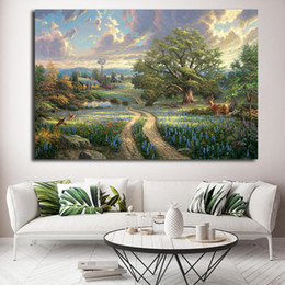 16x24 Painting Australia - Country Living Thomas Kinkade Cottages Tree Canvas Painting Oil Print Poster Wall Art HD Picture for Living Room Home Decor