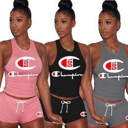 Hot girls sHort tank online shopping - Women Champion Anniversary Tracksuit Sleeveless Vest Tank Shorts Set Summer Piece Sportswear Jogging Fitness Crop Tops Suit Hot C5701