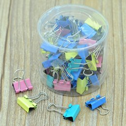stationery binders UK - 15mm Metal Binder Clips 4 Colors Folder Clip Bill Document Paper Note Clips Student Stationery 60pcs lot