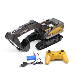 excavators toys Australia - HUINA 1592 1:14 RC Excavator RC Car Radio Control Car Toy Road Construction Metal Autos Model RC Vehicle Model Toys with Battery