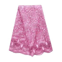 nigeria dresses UK - Floral Net French Lace Fabric Magenta Nigeria Lace Fabric Baby Pink High Quality African Lace 2019 Material For Party Dress