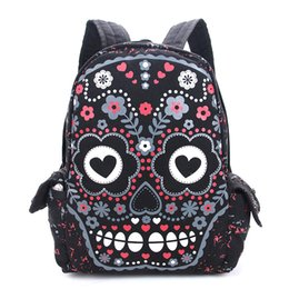 backpack materials 2019 - Canvas Material Women Backpack Personality Punk Style Classic Printing Process Student School Bookbag For Female Girl ch