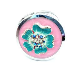 $enCountryForm.capitalKeyWord Australia - High quaility MakeUp Mirror with diamond Pocket Mirror Two-side Folding Women Vintage Cosmetic Mirrors For Gift