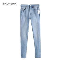 Wholesale BIAORUINA Women Blue Fashion Washing Bleached Denim Jeans Female Casual Pencil Jeans Women s High Waist Stretching