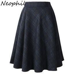 f80118fb26 Neophil 2019 Winter High Waist Woolen Plaid School Pleated Midi Skirts  Women Gray Khaki England Style Tartan Wool Tutu Saia 1926 J190505