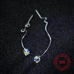 $enCountryForm.capitalKeyWord Australia - Hot 925 sterling silver earring drop long chain cube crystal earrings for women earrings austrian crystal jewellery fashion jewelery China