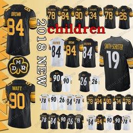 c3515250e YOUTH Pittsburgh Steeler Jerseys 90 T.J. Watt 84 Antonio Brown 26 Le Veon  Bell 78 Alejandro Villanueva Jersey Cheap sales promotion