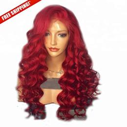 Red Virgin Brazilian Wigs Australia - New unprocessed remy virgin human hair body wave long red aaaa full lace silk top wig for women