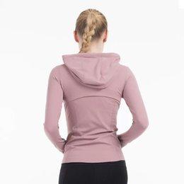Wholesale blue zip up jacket resale online – Plain Hoody Women Zip Up yoga Jacket Elastic long sleeve gym Sports Coat Fitness Running Clothes Sexy Slim Atheltics Clothing yogaworld