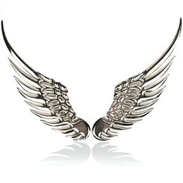 3d angel stickers online shopping - 3D dimensional Alloy Metal car stickers Angel Hawk Wings Emblem Badge Decal Car Logo Sticker golden silver color optional pair