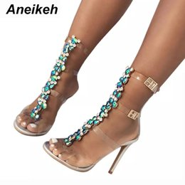 $enCountryForm.capitalKeyWord Australia - wholesale New Summer sandals women Buckle Strap Luxurious Blue Crystal Chain Transparent PVC High Heel OpenToe Sexy Sandals