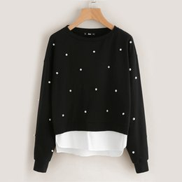$enCountryForm.capitalKeyWord NZ - Women Long Sleeve O Neck Beaded Pullover Simulated Pearl Patchwork Sweaters Hoodies Female Black Casual Autumn Winter Outwear