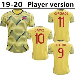 297198cfade player version 2019 Colombia soccer Jersey Colombia Home yellow Soccer  shirt  10 JAMES  9 FALCAO  11 CUADRADO away blue Football uniform