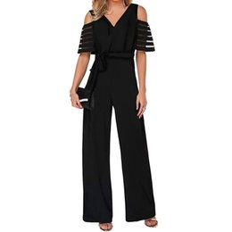 China Summer Women High Waist With Cold Shoulders Solid Color Wide Leg Jumpsuit Bodysuit Women Playsuit Rompers Womens Long Trousers supplier shoulder waist jumpsuit suppliers