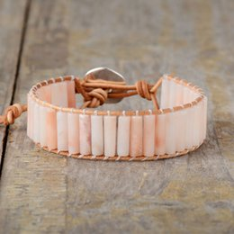 precious gold 2019 - New Bohemia Stone Bracelet Femme Semi Precious Single Leather Wrap Bracelet Beads Statement Holiday Jewelry cheap precio