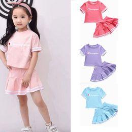 $enCountryForm.capitalKeyWord Australia - Baby Girl summer dress set letter print Outfit Top T-shirt Party Skirt Princess Dress Set Clothes Hot Dress For Girls Skirt LJJK1678