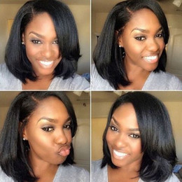 ItalIan yakI wIg brazIlIan haIr online shopping - High quality Short Bob Hand Tied Lace Front Wigs Thick Full corse italian yaki kinky straight lace Wigs With Baby Hair