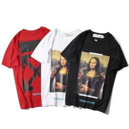 94bb6bc0 2019 summer new OWFWHITE Mona Lisa oil painting arrow couple T-shirt men and  women cotton short sleeve