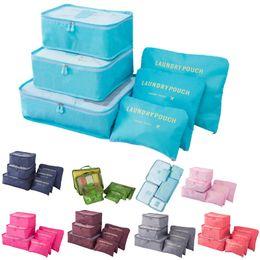 Types Set Clothes Australia - 6pcs set Travel Storage Bags Waterproof Portable Men Women Luggage Clothes Cosmetic makeup Organizer Cube Bags Underwear Bra Pouch 2 Zippers