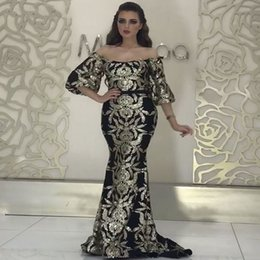 Long sLeeve goLd gLitter dress online shopping - Long Black Mermaid Arabic Dubai Woman Glitter Evening Dress Formal Elegant Prom Party Dress robe longue manche longue