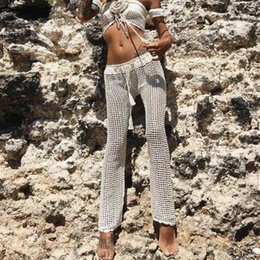 27f66b249039 Crochet Bikini Cover Up Pants 2019 Women Lace Up High Waist Long Beach Pants  Handmade Trousers Hollow Out Swimsuit Bathing Wear