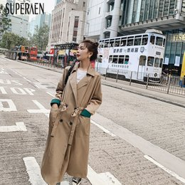 Wholesale korean style autumn clothing for sale – oversize SuperAen New Autumn Korean Style Windbreaker Female Solid Color Wild Trench Coat for Women Fashion Women Clothing