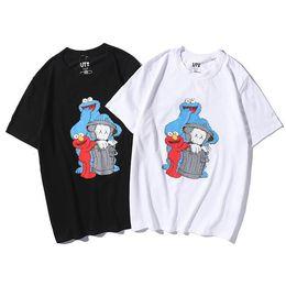 $enCountryForm.capitalKeyWord Australia - 2019 classic fashion Sesame Street black and white two-color cartoon printing T-shirt cotton couple models free shipping