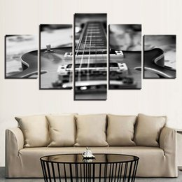 Music Canvas Prints Australia - HD Prints Living Room Canvas Pictures 5 Pieces Guitar Paintings Wall Art Vintage Black White Music Posters Framework Home Decoration