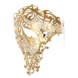 $enCountryForm.capitalKeyWord UK - Delicate Metal Half Face Unisex Electroplate Overgild Silvering with Diamond Venetian Masks