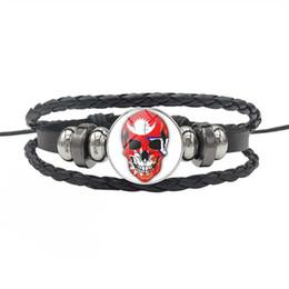 $enCountryForm.capitalKeyWord NZ - Nepal National Flag Time Gem Glass Cabochon Skull Series Button Charm Bracelet Genuine Leather Rope Beads Jewelry High quality for women men