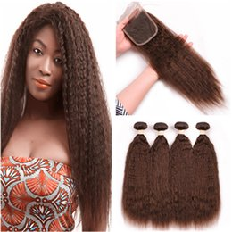$enCountryForm.capitalKeyWord Australia - Pure 4 Color Kinky Straight Brazilian Human Hair Weaves 4Bundles with 4x4 Lace Closure 5Pcs Lot Medium Brown Coarse Yaki Virgin Hair Wefts
