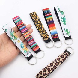 leopard jewelry accessories UK - Trendy Sunflower Leopard Printed Keychain For Women Key Chain Lanyard Long Hanging Strap Key Holder Rings Jewelry Accessory