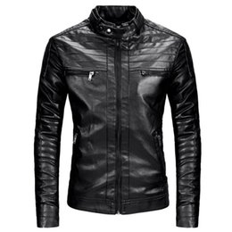 Punk Motorcycle Jacket NZ - New Men's Leather Jacket Fashion Black Motorcycle Leather Jacket Men Slim Fit Faux Coat Zipper Punk Male
