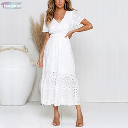 $enCountryForm.capitalKeyWord NZ - Dresses White Embroidered Cotton Ankle-Length Women Summer Hollow Out Linen Slim A-Line Long Dress Female Casual V-Neck