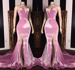 Chinese  Elegant Sweetheart Mermaid Prom Dresses Long 2019 High Split Sweep Train Formal Party Cheap Simple Evening Wear Gowns BC1231 manufacturers