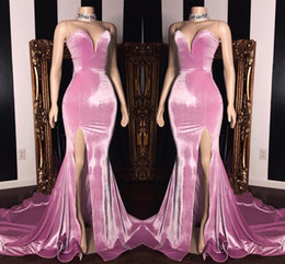 Wholesale Elegant Sweetheart Mermaid Prom Dresses Long High Split Sweep Train Formal Party Cheap Simple Evening Wear Gowns BC1231